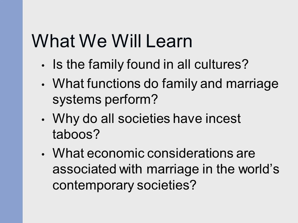 What We Will Learn Is the family found in all cultures