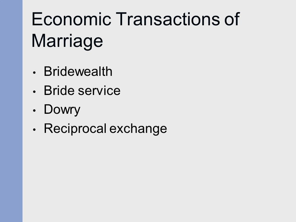 Economic Transactions of Marriage