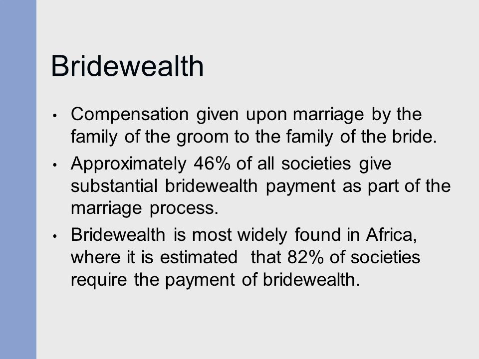 Bridewealth Compensation given upon marriage by the family of the groom to the family of the bride.