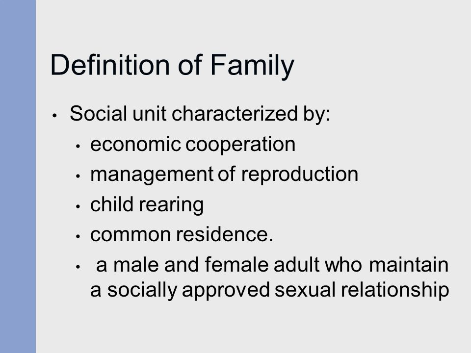 Definition of Family Social unit characterized by: