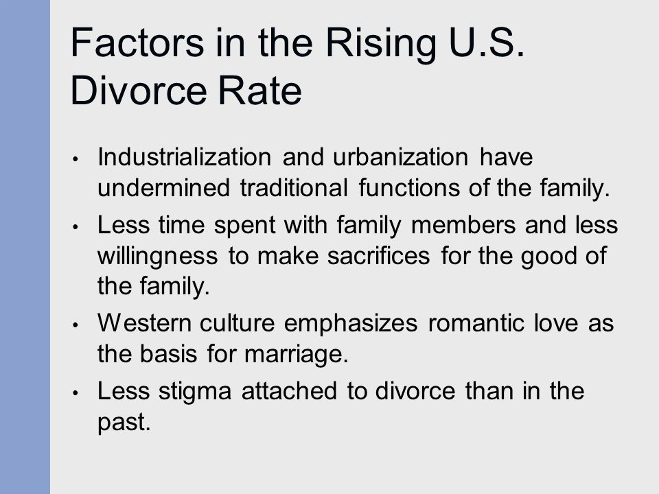 Factors in the Rising U.S. Divorce Rate