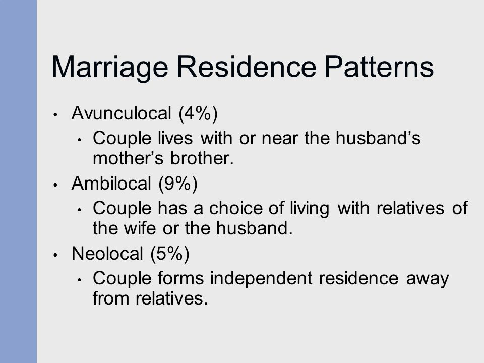 Marriage Residence Patterns