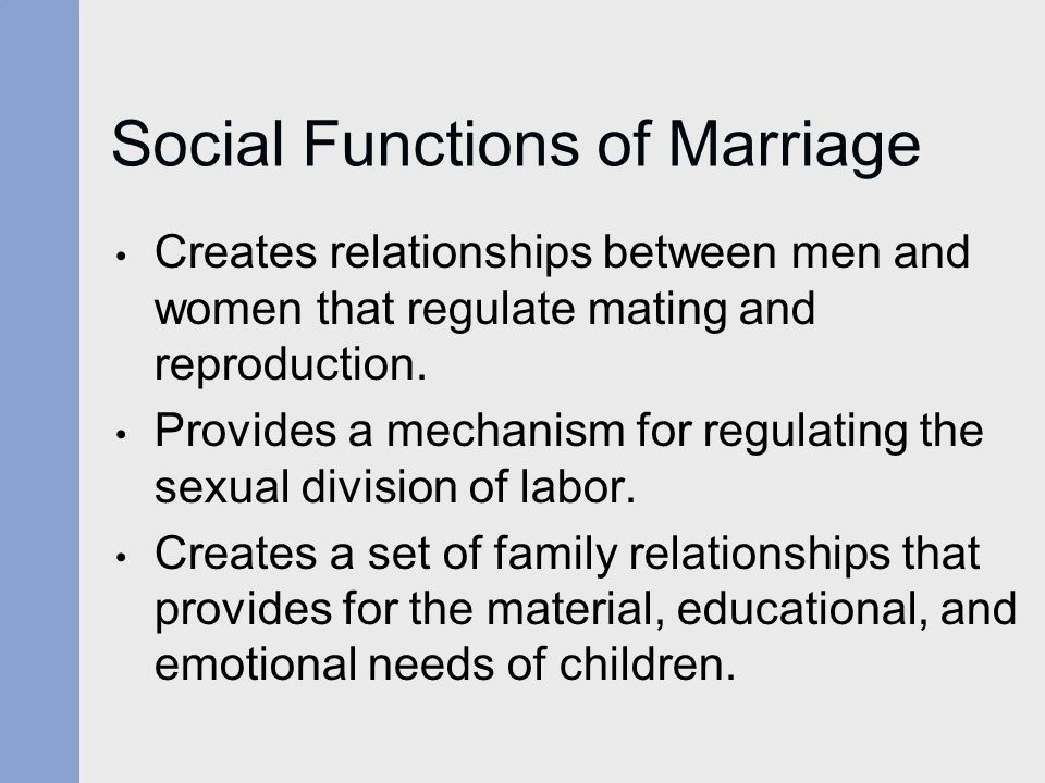 Social Functions of Marriage
