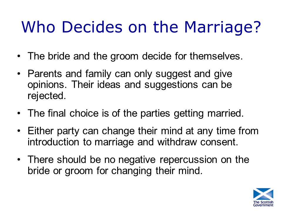 Who Decides on the Marriage