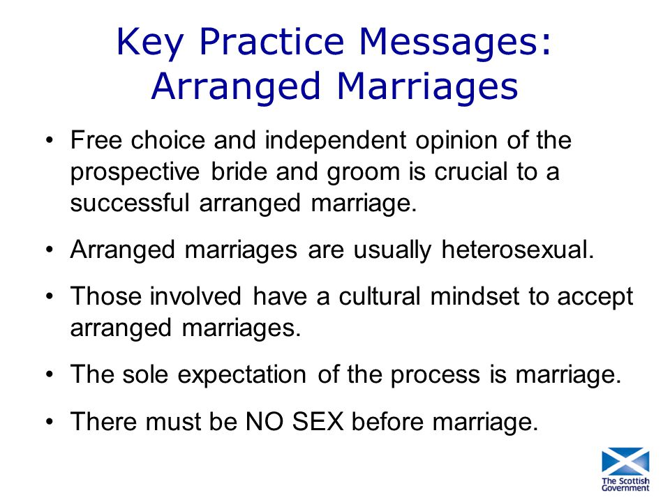 Key Practice Messages: Arranged Marriages