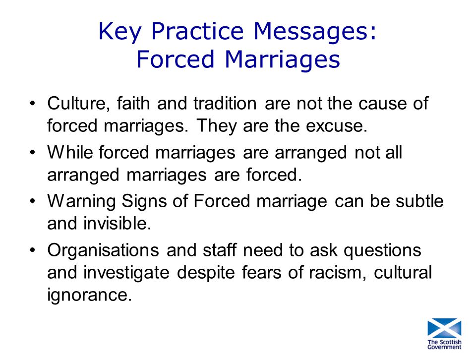 Key Practice Messages: Forced Marriages