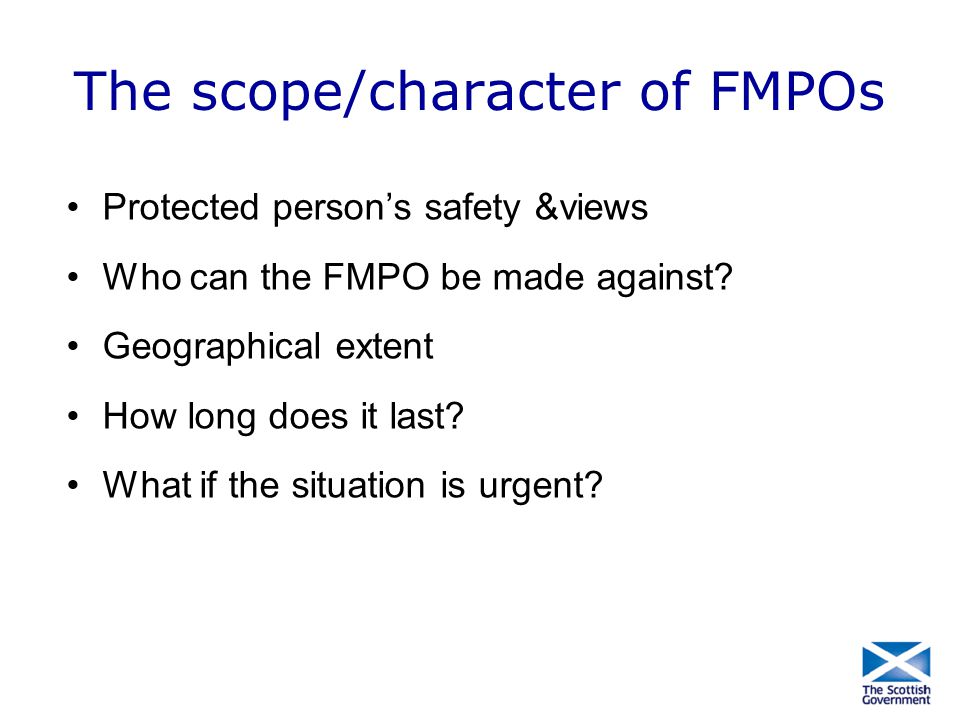 The scope/character of FMPOs