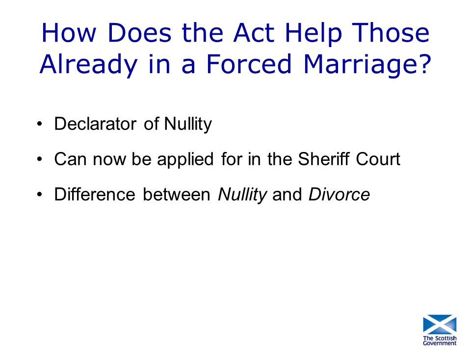 How Does the Act Help Those Already in a Forced Marriage