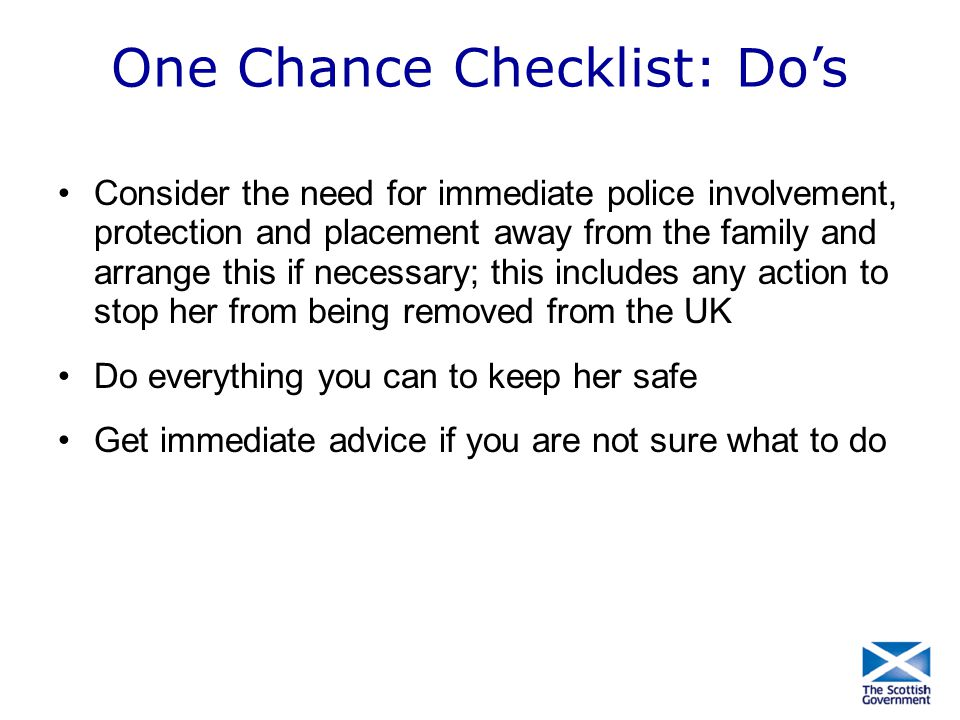 One Chance Checklist: Do's