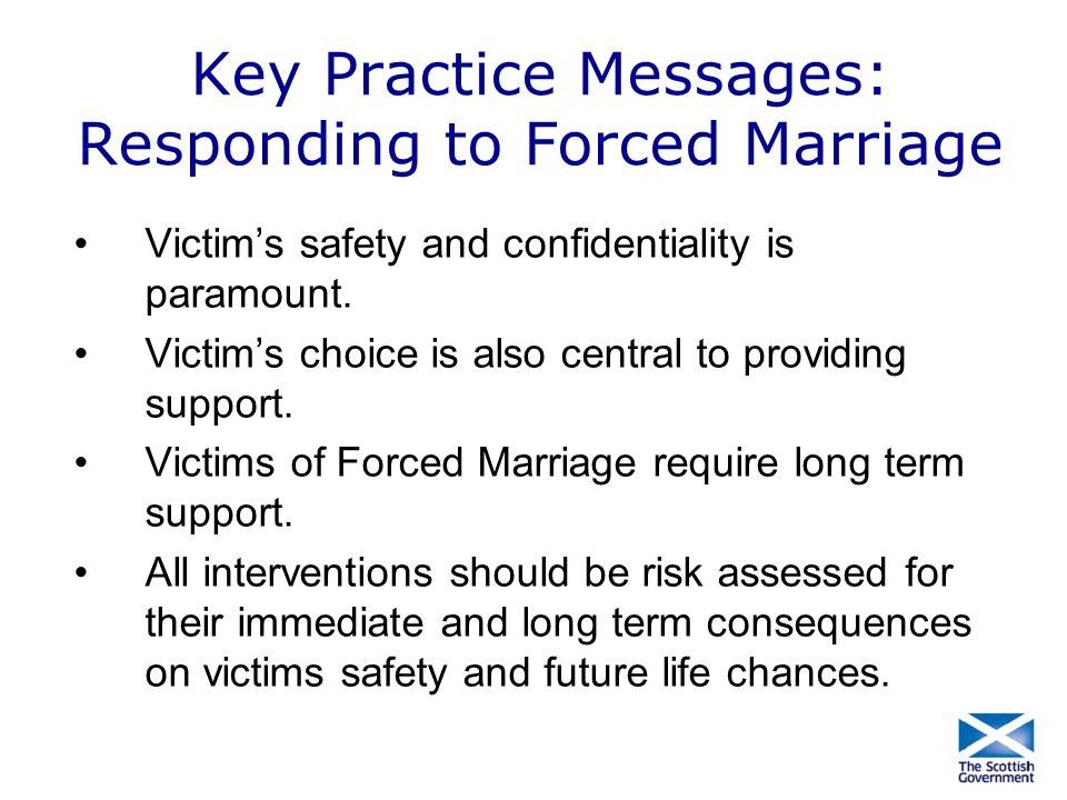 Key Practice Messages: Responding to Forced Marriage
