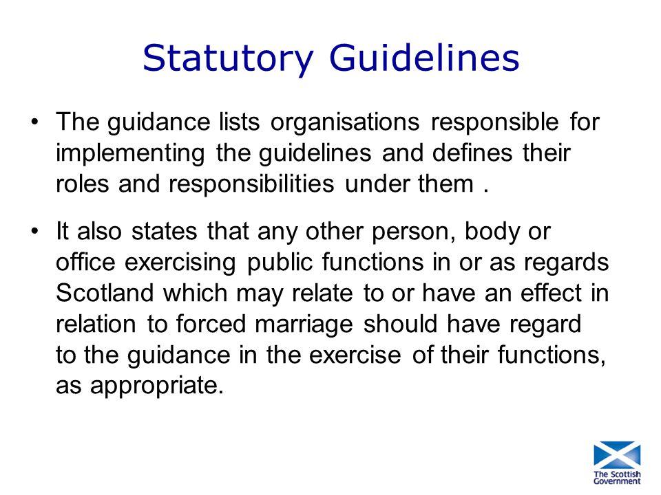 Statutory Guidelines