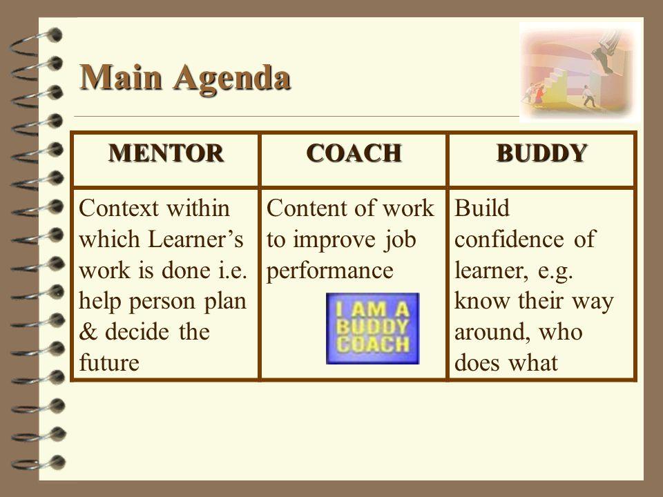 Main Agenda MENTOR COACH BUDDY