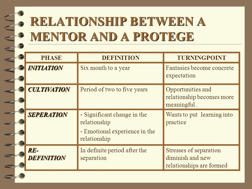 RELATIONSHIP BETWEEN A MENTOR AND A PROTEGE