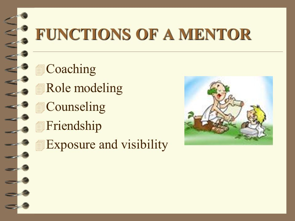 FUNCTIONS OF A MENTOR Coaching Role modeling Counseling Friendship