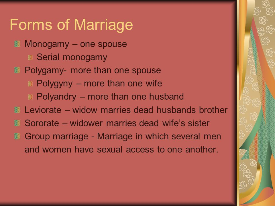 Forms of Marriage Monogamy – one spouse Serial monogamy