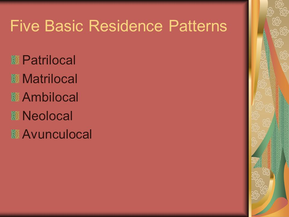 Five Basic Residence Patterns