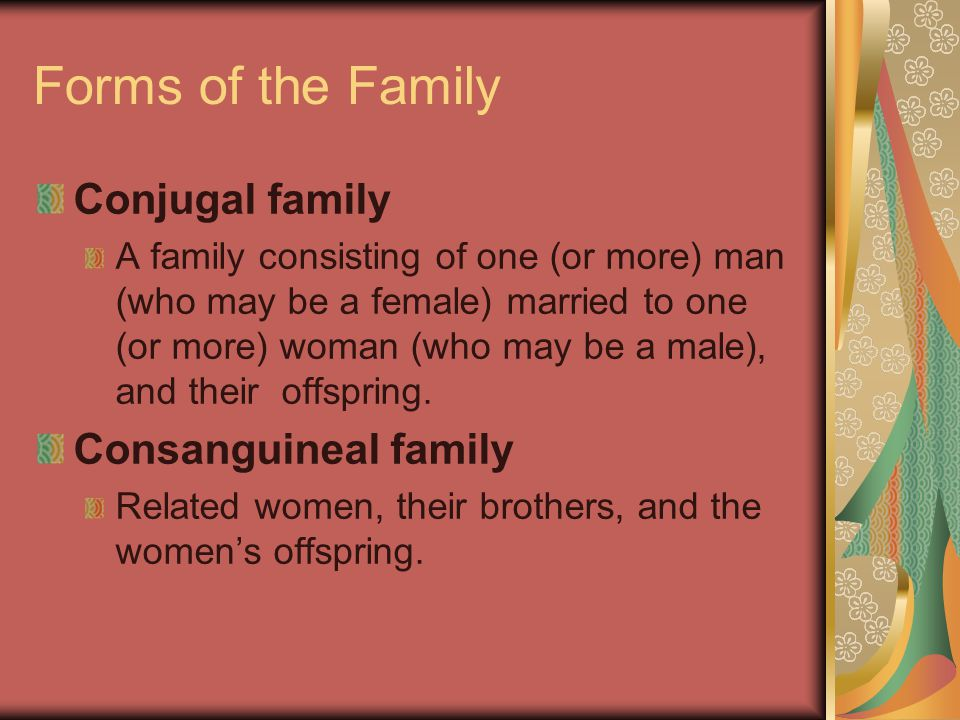 Forms of the Family Conjugal family Consanguineal family