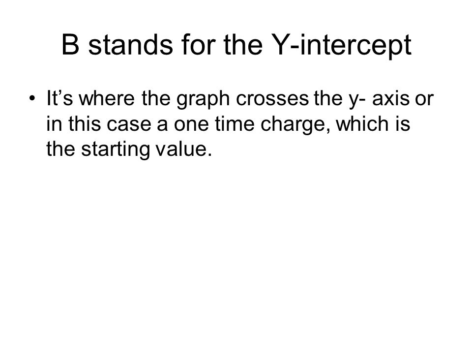 B stands for the Y-intercept