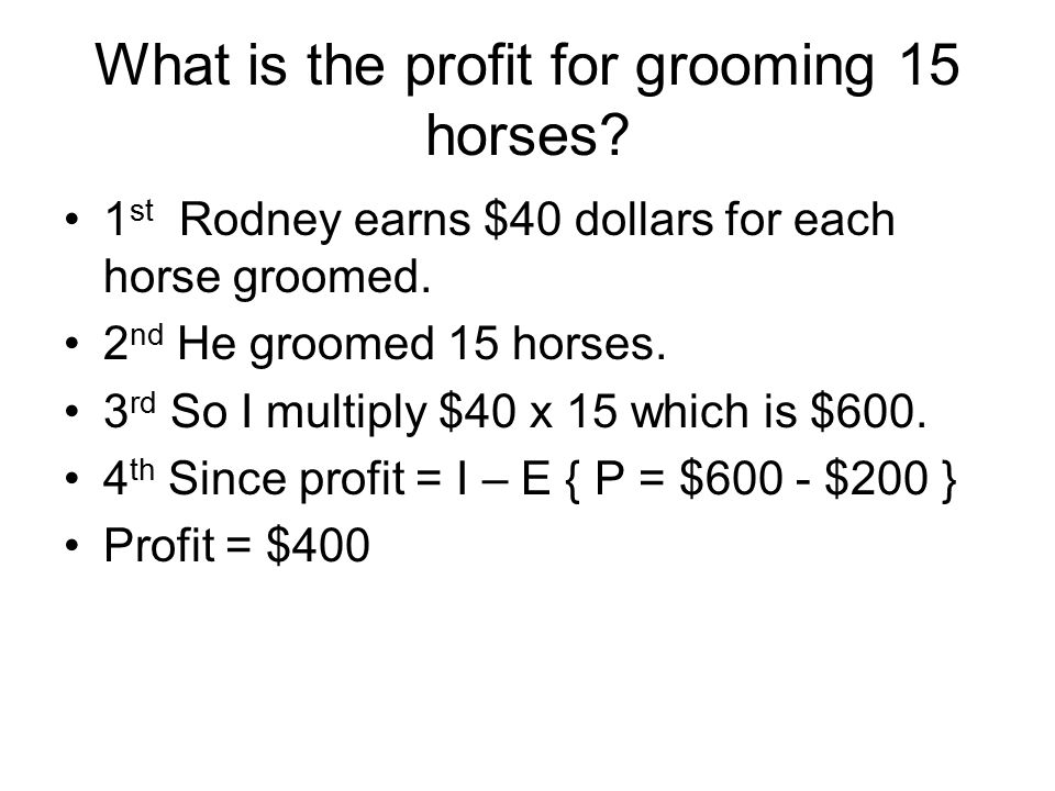 What is the profit for grooming 15 horses