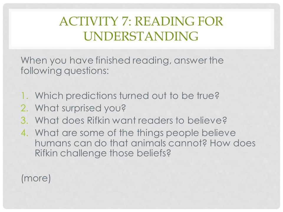Activity 7: reading for understanding