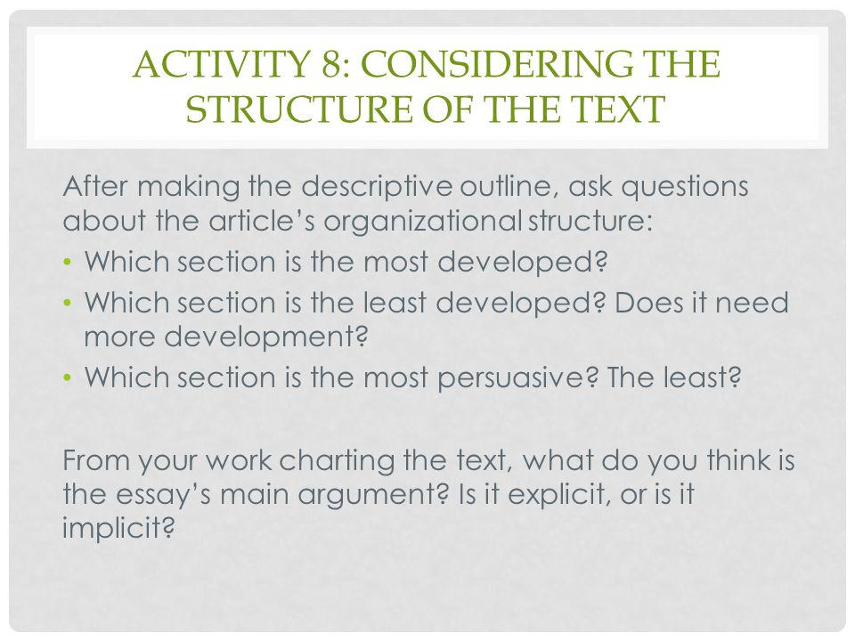 Activity 8: considering the structure of the text