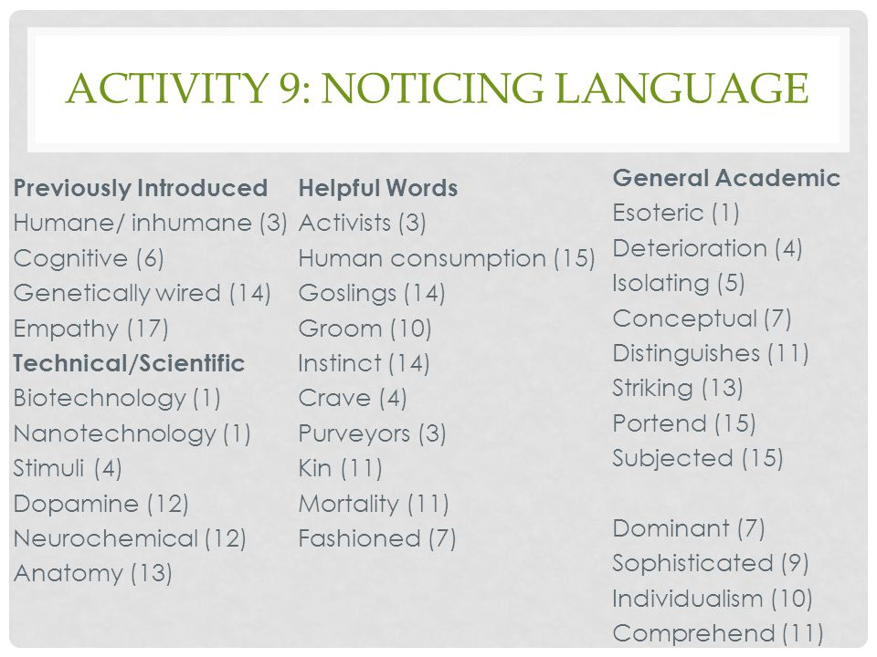 Activity 9: noticing language