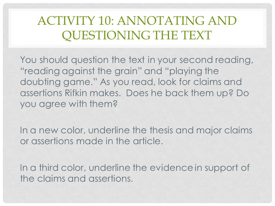 Activity 10: annotating and questioning the text