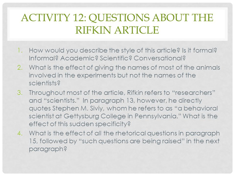 Activity 12: questions about the Rifkin article