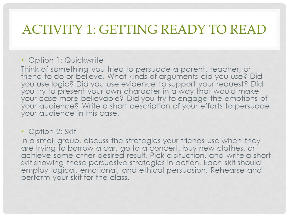 Activity 1: getting ready to read