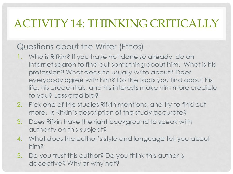 Activity 14: Thinking Critically