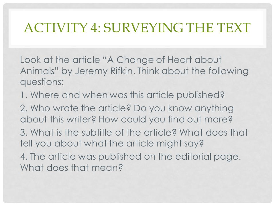 Activity 4: surveying the text