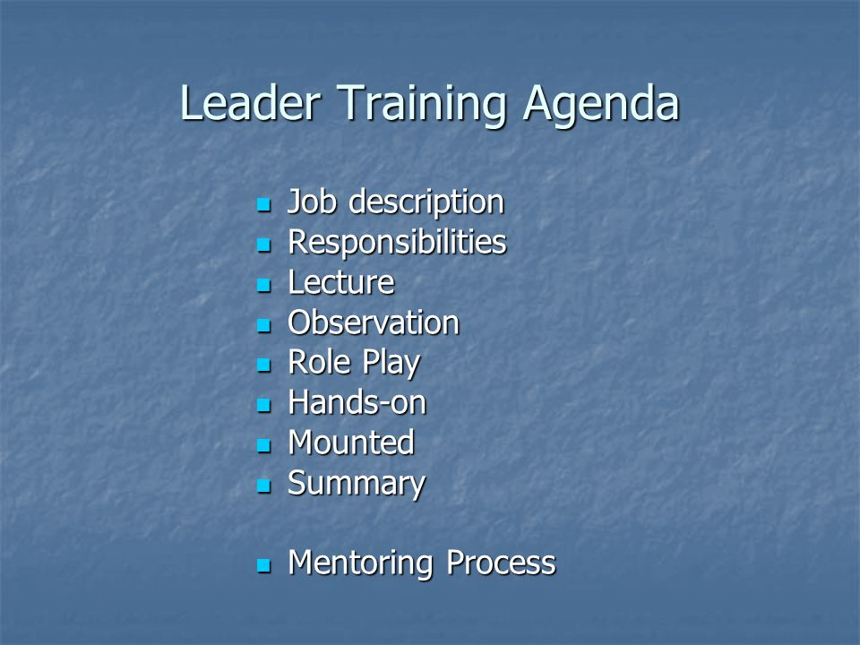 Leader Training Agenda