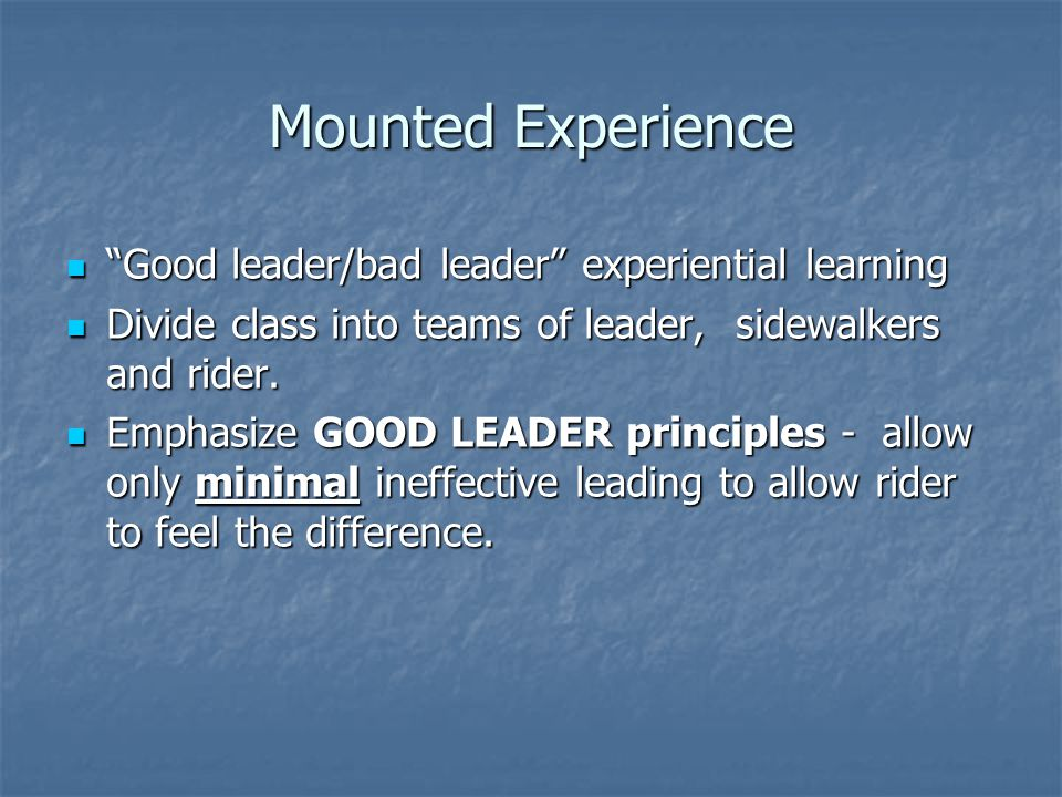 Mounted Experience Good leader/bad leader experiential learning