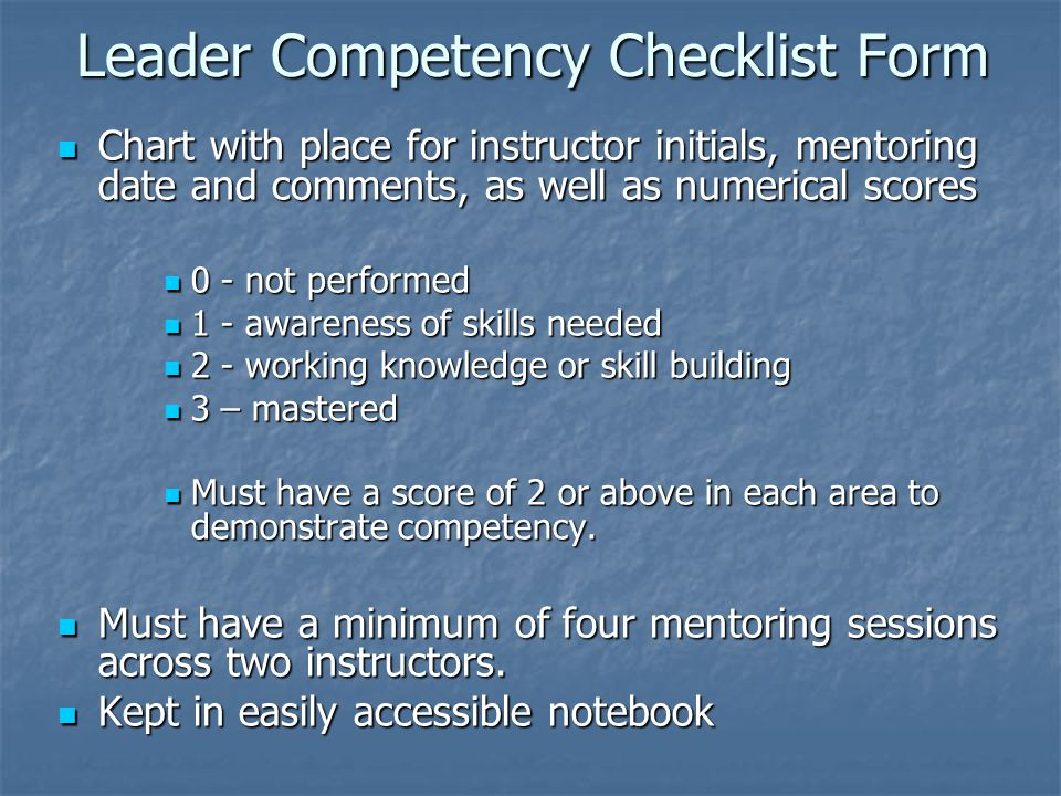 Leader Competency Checklist Form