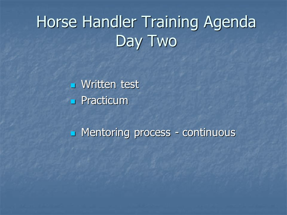 Horse Handler Training Agenda Day Two