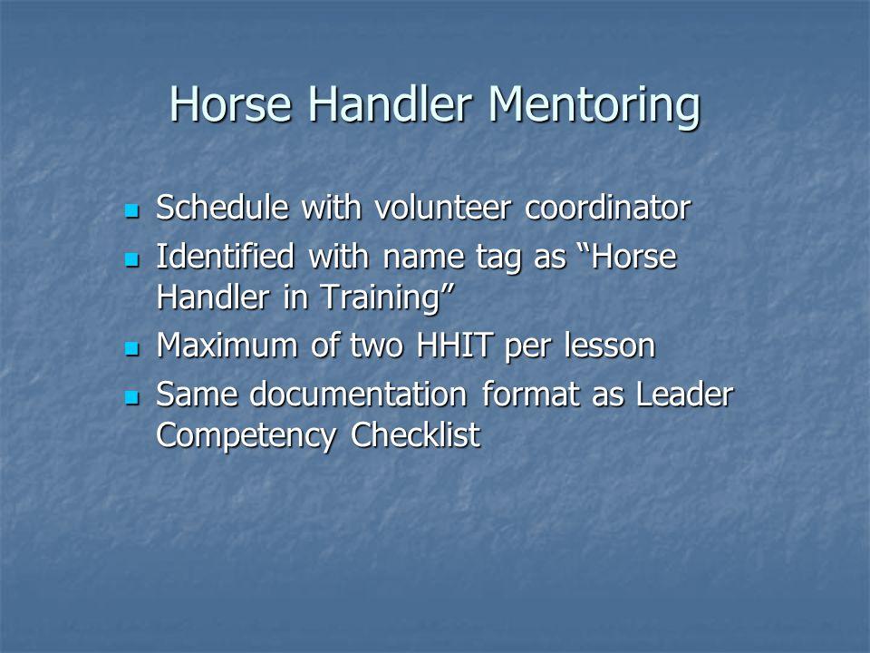 Horse Handler Mentoring