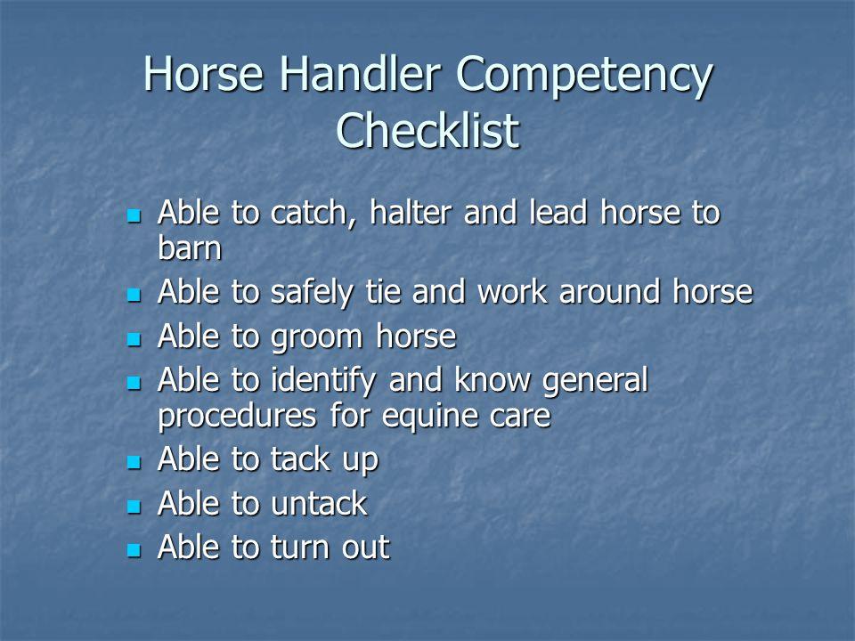 Horse Handler Competency Checklist