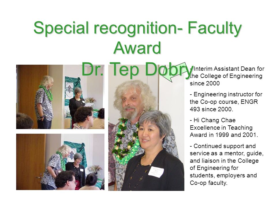 Special recognition- Faculty Award
