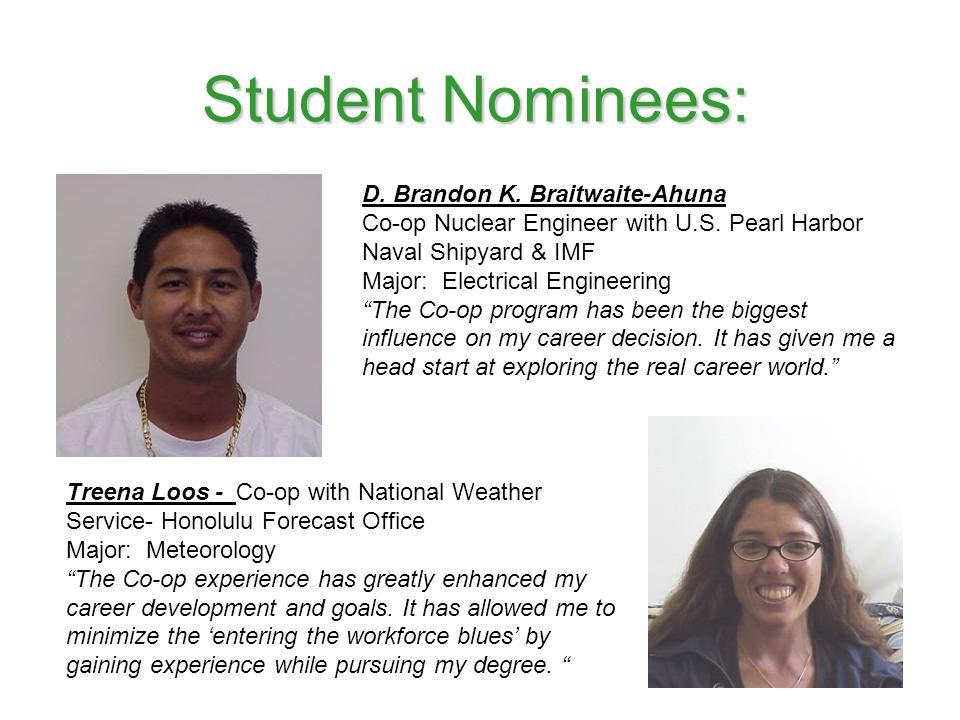 Student Nominees: D. Brandon K. Braitwaite-Ahuna