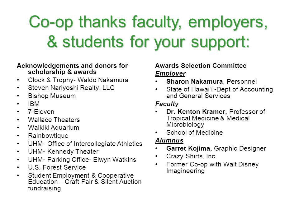 Co-op thanks faculty, employers, & students for your support: