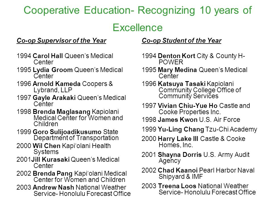 Cooperative Education- Recognizing 10 years of Excellence