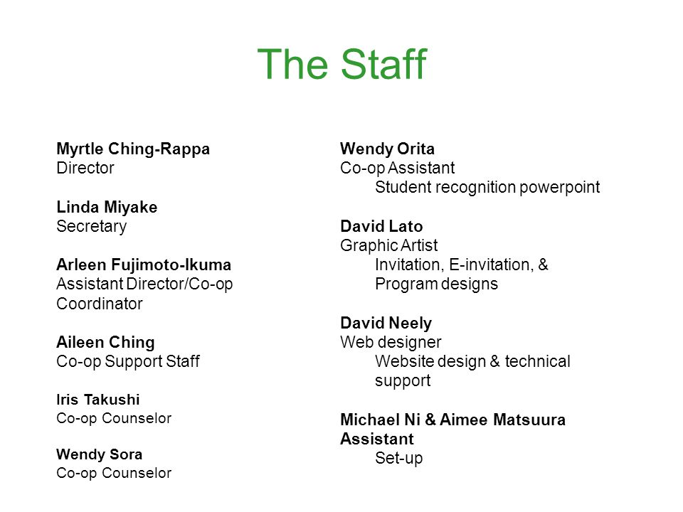 The Staff Myrtle Ching-Rappa Director Linda Miyake Secretary