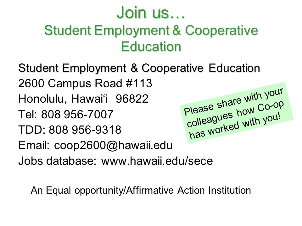 Join us… Student Employment & Cooperative Education