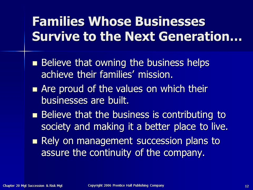 Families Whose Businesses Survive to the Next Generation…