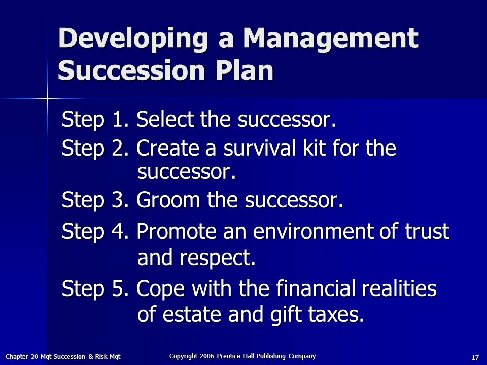 Developing a Management Succession Plan