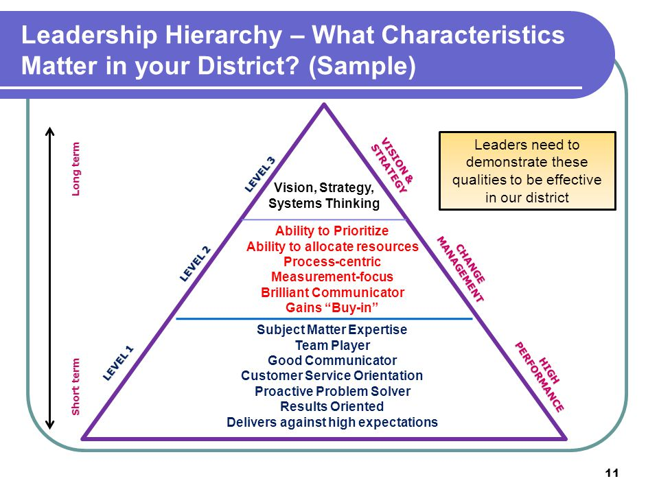 Leadership Hierarchy – What Characteristics Matter in your District