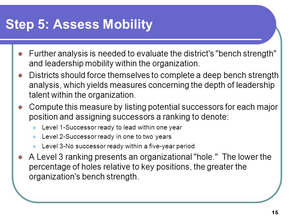 Step 5: Assess Mobility Further analysis is needed to evaluate the district s bench strength and leadership mobility within the organization.