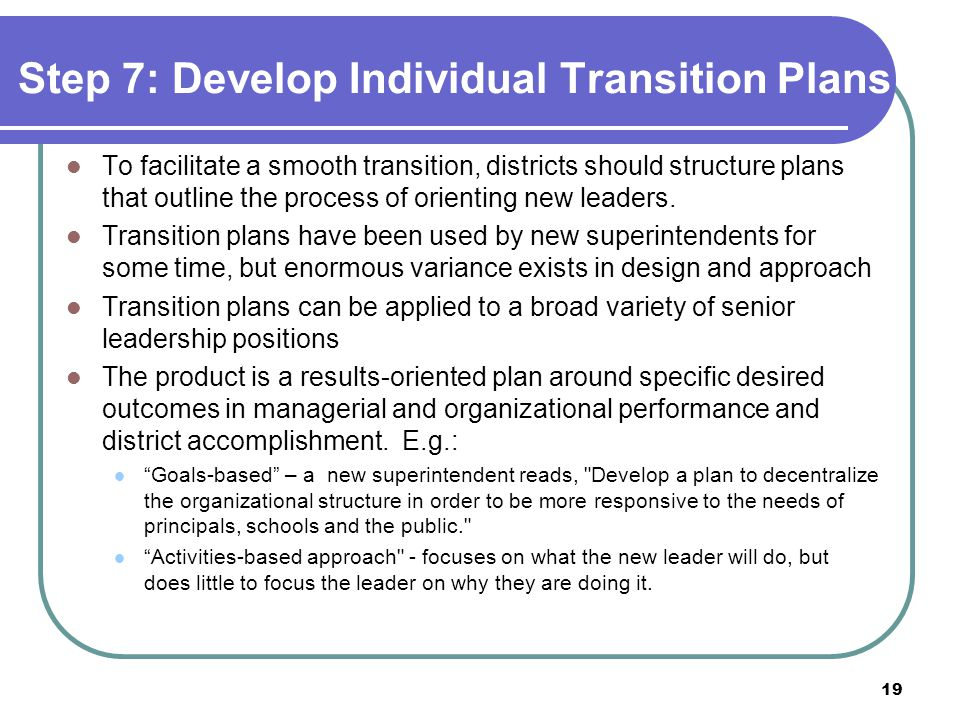 Step 7: Develop Individual Transition Plans