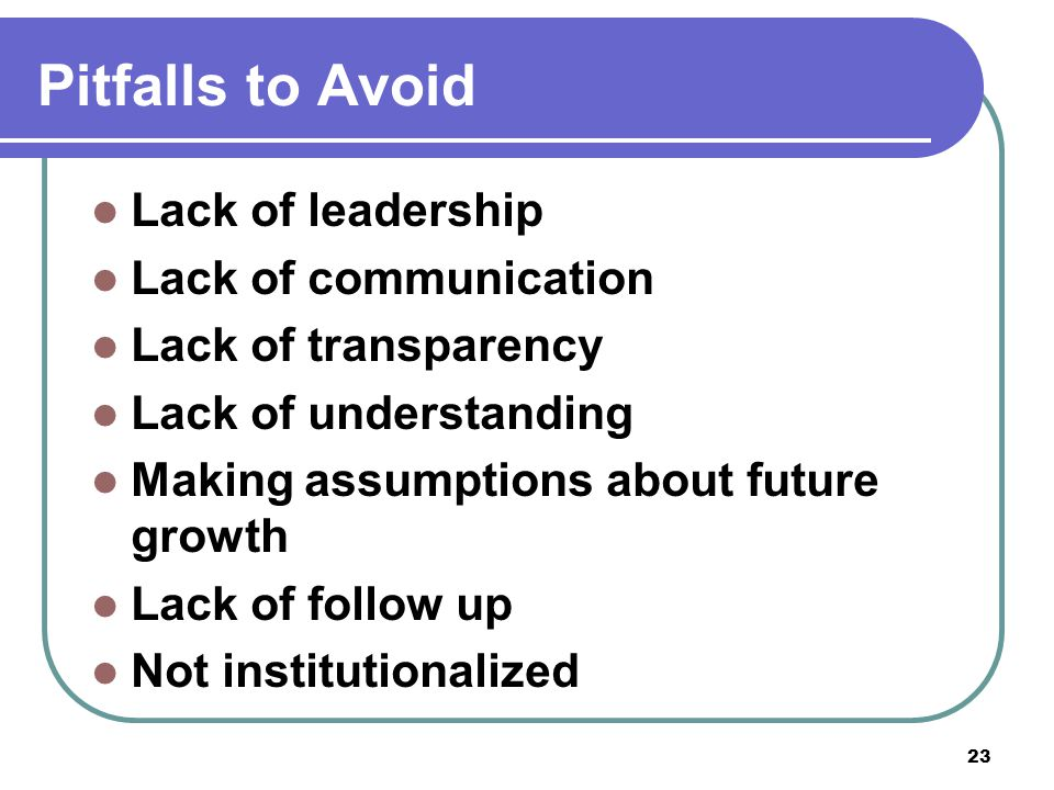 Pitfalls to Avoid Lack of leadership Lack of communication