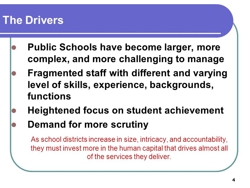 The Drivers Public Schools have become larger, more complex, and more challenging to manage.